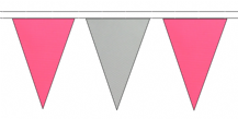 PINK AND GREY TRIANGULAR BUNTING - 10m / 20m / 50m LENGTHS